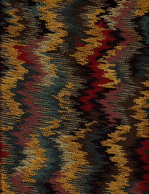 The rich, natural colors of this flame stitch chenille would be perfect for throw pillow or an upholstered chair.