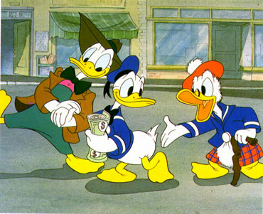 Donald Duck being heckled in how to spend his money during World War II in the Disney animated short, The Spirit of '43.
