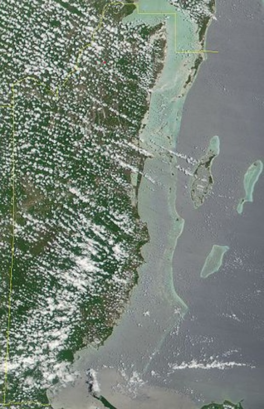 Satellite image of Belize in May 2001 - The Barrier Reef is clearly visible along the length of  Belizean coast.