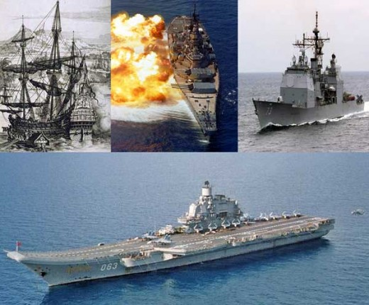 Spanish Galleon, 20th Century Battleship, Modern US Missile Cruiser, Russian Aircraft Carrier