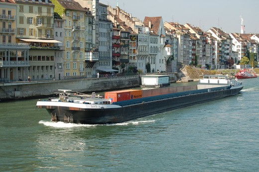 Modern Rhine river barge in Basle
