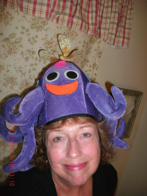 Happy Purple Creature Perched on My Head!