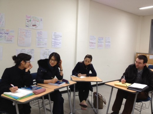 TESOL students learning by doing: Think-Pair-Share.