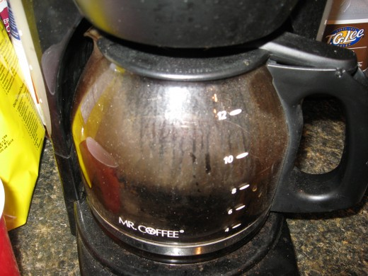 Oils and other residues can build up in coffee pots and inside coffee makers.