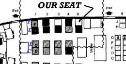 """First class Seat """"5F"""" assigned to Joseph De Cross"""