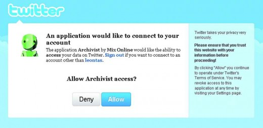 The Archivist is asking for Twitter access.