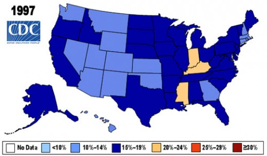 Obesity rates in 1997. Source: http://www.cdc.gov/nccdphp/dnpa/obesity/trend/maps/