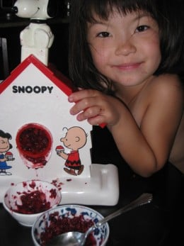 Here's my daughter shaving frozen berries with her Snoopy Sno-Cone Machine. Berries are a little softer than ice cubes, so easier for kids to grind.