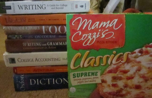 College Necessities: Books and Pizza!
