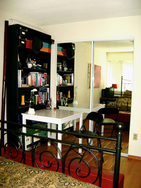 Cramped for space? Set up a functional office in your bedroom.