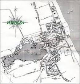 Period map of Hornsea with the mere inland behind the town on one side, the sea on the other - not ideal in bad weather!