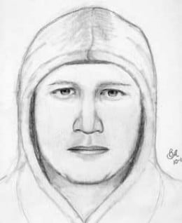 This composite sketch of the NorCal Rapist wearing a hooded sweatshirt was created following the October 13, 2006 attack.
