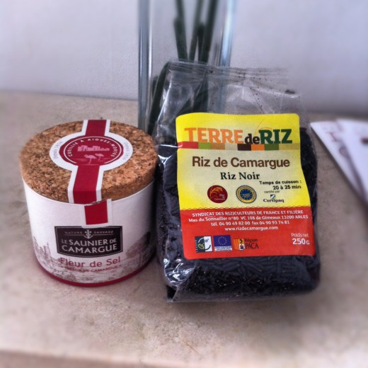The two principle agriculture products from the Camargue's wetlands: sea salt and rice.