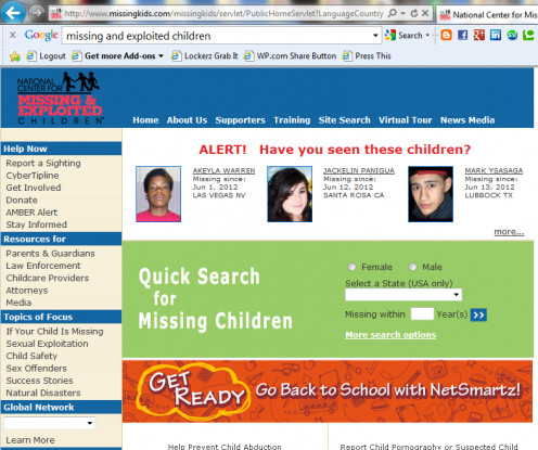 Search, report, setup amber alerts for your area and access to cybertipline.