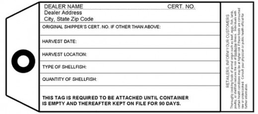 Figure 3. An ISSC-approved dealer tag for labeling wild and cultured shellfish lots⁹