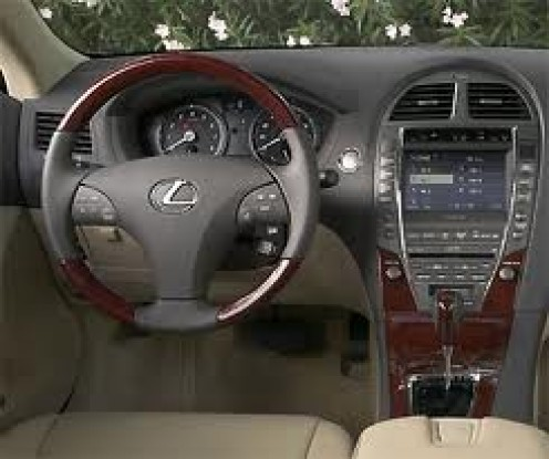 Inside of The Lexus ES350. These cars come with wood grain, leather and other nice trimmings. The interior of these cars are very nice.