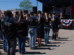 Recruits taking the oath of enlistment at Ft Carson CO