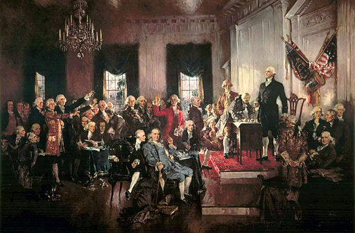 Scene at the signing of the Constitution.