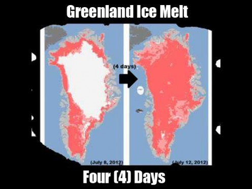 Showing the four days of glacial melting on Greenland.