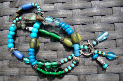 Blue and Green Mixed Stone Necklace Turquoise mixed with ceramic and glass beads.
