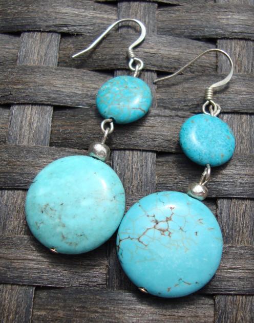 Blue Peace Earrings Beautiful turquoise discs.