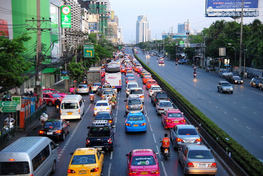 Bangkok rush hour traffic.
