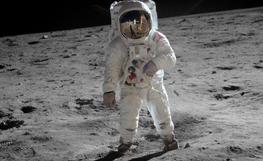 Astronaut Buzz Aldrin on the moon.