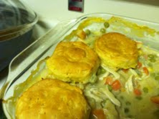Chicken pot pie cooked.