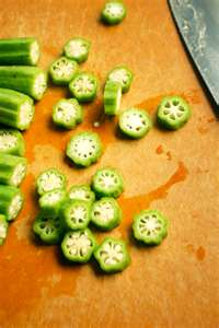 Whether frozen or fresh -- this is what okra ought to look like after it's cut up and ready for breading.