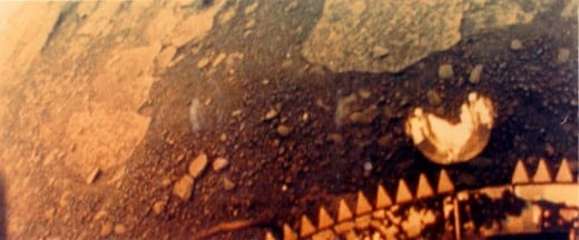 A picture of the surface of Venus as taken by Venera 13 at it's landing site.