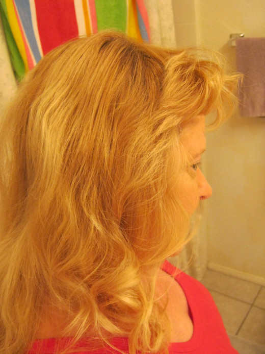 Side and shoulder view after a hair bun is taken out. It's hard to take pictures of yourself, as I found out!