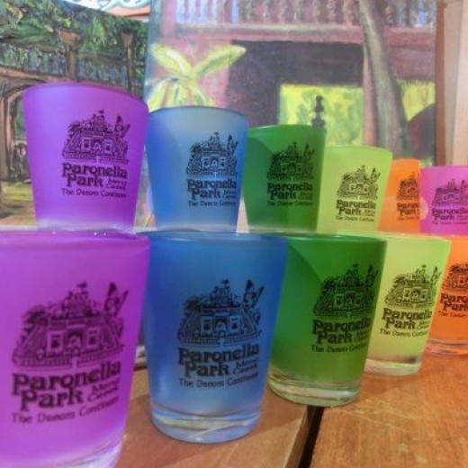 Rainbow shot glasses are one of many beautiful gifts and mementos available from the Paronella Park gift shop.