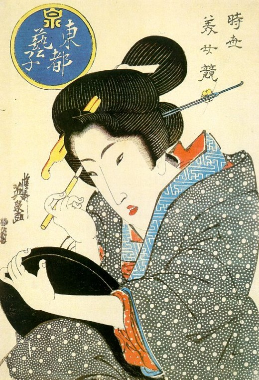 Bijin (beautiful woman) ukiyo-e by Keisai Eisen