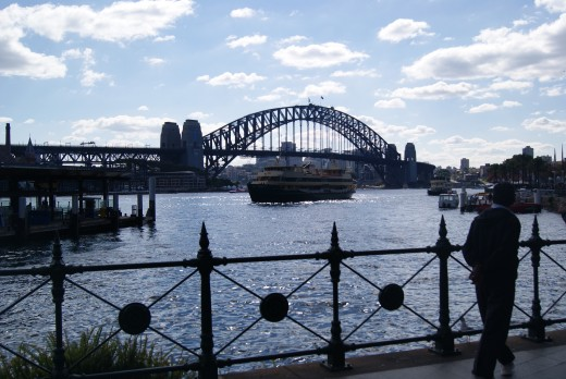 A stunning view of the Harbour Bridge and Manly ferry, from the Sydney Opera House