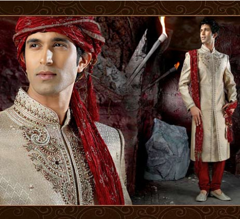 Cream Banarasi Fabric Sherwani