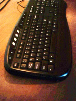 the keyboard connected to a computer which in turn is connected to the Internet ... hey you are online! now start getting rich!