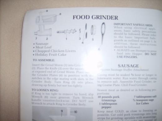 My KitchenAid instruction booklet