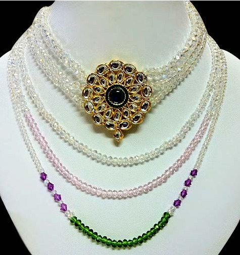 Off White and Green Stone Studded Necklace Set