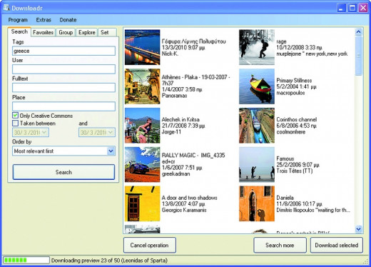 "Downloadr window with search results found for search term ""Greece""."