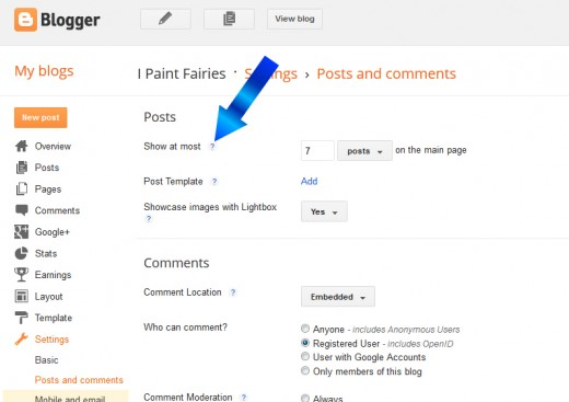 If you are unsure of what a setting means in Blogspot, click the '?' for a popup description