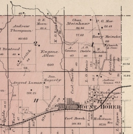 Old Maps can show where ancestors lived and give context to their lives. The Peterson & Moe Farms on Section 1 & 11 in Blue Mounds, Wisconsin, 1890 from UofW digital collections.