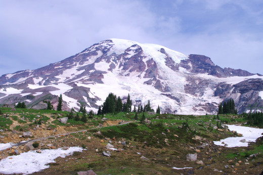 First open view of Rainier coming up the trail from Paradise, on the way to Camp Muir.