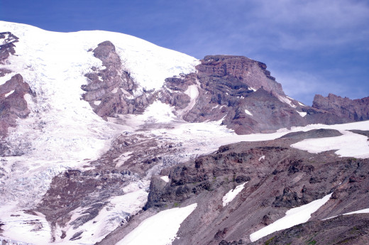 Close up of the Southern shoulder of Rainier.  If you look closely, you can see Camp Muir just above the snowfield on the far right middle of the photo.