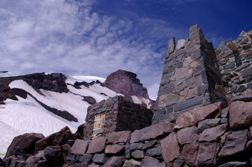 Stone shelters up at Camp Muir (10,000 ft)