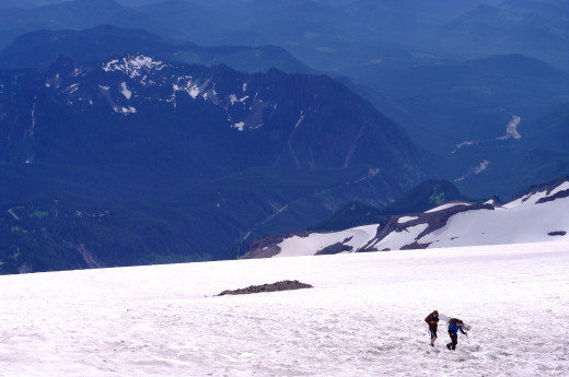 Hikers nearing Camp Muir.