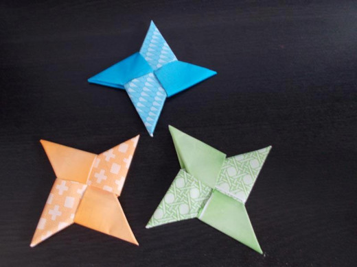 Ninja stars are quick to fold and could be sold in groups as party favors for a child's birthday.