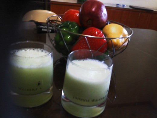 A midday cucumber juice drink