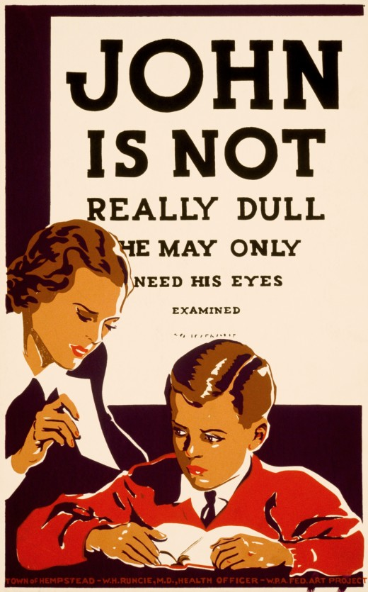 1930's Works Progress Administration poster recommending eye examinations for children having difficulty learning