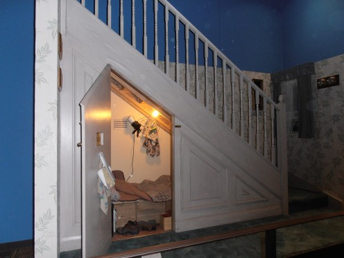 The cupboard under the stairs. Harry's room in the Dursley household, at 4 Privet Drive and an attraction on the tour