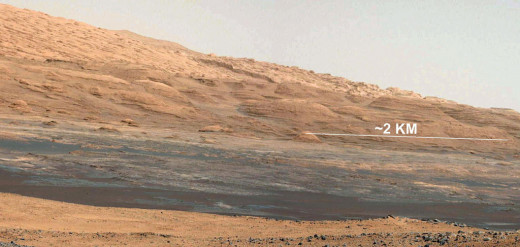 The base of Mt. Sharp, Mars Curiosity Rover's eventual destination, snapped during the first week on Mars while the Rover was self-testing and preparing to drive.